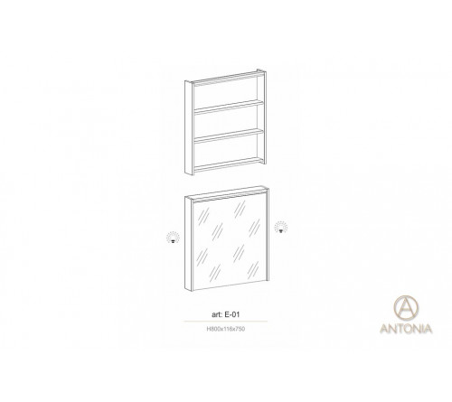 Dulap suspendat cu oglinda pentru baie - AE-01